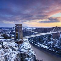 Buy canvas prints of Clifton Bridge, Bristol, UK, Dusk, Winter by Daugirdas Tomas Racys