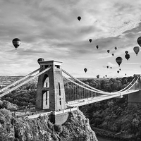 Buy canvas prints of Bristol Balloon Fiesta (black and white) by Daugirdas Toma Racys
