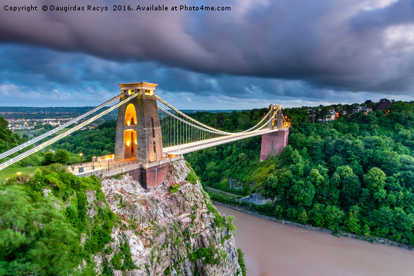 Stormy Clifton Bridge, Bristol Canvas print by Daugirdas Racys