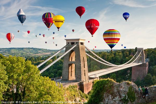 Bristol Balloon Fiesta display over Clifton Bridge Canvas print by Daugirdas Racys