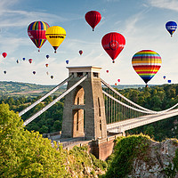 Buy canvas prints of Bristol Balloon Fiesta display over Clifton Bridge by Daugirdas Racys