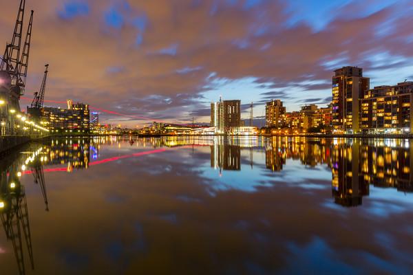 London Royal Victoria docks reflections at dusk Canvas print by Daugirdas Racys