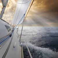 Buy canvas prints of Sailing towards the sunset by Mike Higginson