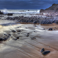 Buy canvas prints of Winters Sunset On Sandymouth by Mike Gorton
