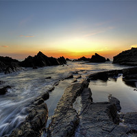 Buy canvas prints of Hartland Quay Sunset by Mike Gorton