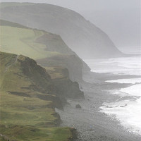 Buy canvas prints of Misty Rugged North Devon Coast by Mike Gorton