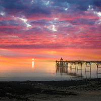 Buy canvas prints of Clevedon Pier Sunset by Mike Gorton
