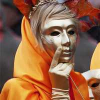 Buy canvas prints of Lady With The Golden Mask by Mike Gorton