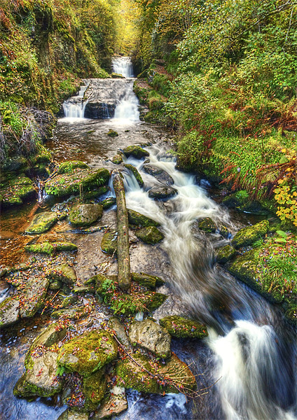 Watersmeet Autumn Waterfall Framed Mounted Print by Mike Gorton