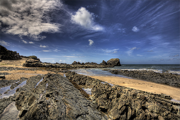 Hartland Quay Deep Blue Sky Canvas Print by Mike Gorton