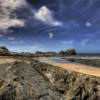 Buy canvas prints of Hartland Quay Deep Blue Sky by Mike Gorton