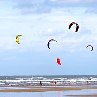 Buy canvas prints of Kite surfing On Westward Ho! Beach by Mike Gorton