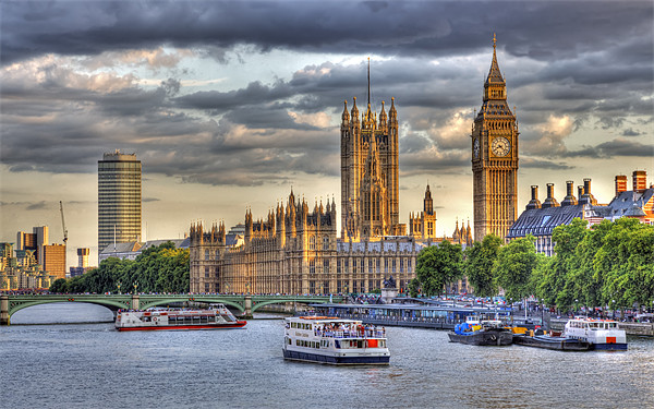 Sun Setting on Big Ben London Canvas print by Mike Gorton