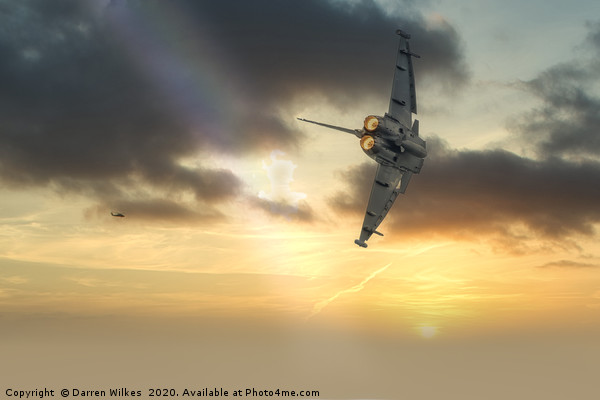 RAF Typhoon at sunset Canvas print by Darren Wilkes