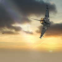 Buy canvas prints of RAF Typhoon at sunset by Darren Wilkes