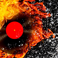 Buy canvas prints of vinyl record with fire and water by Guido Parmiggiani