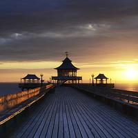Buy canvas prints of On Clevedon Pier Sunset by Carolyn Eaton