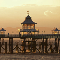 Buy canvas prints of Glowing Clevedon Pier by Carolyn Eaton