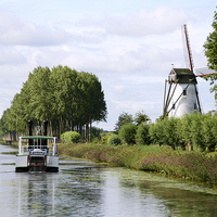 Buy canvas prints of Boat Back to Bruges by Carolyn Eaton