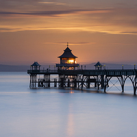 Buy canvas prints of  Clevedon Pier Sunset by Carolyn Eaton