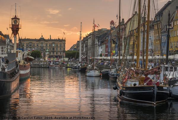 Nyhavn sunset, Copenhagen, Denmark Canvas print by Carolyn Eaton