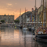 Buy canvas prints of Nyhavn sunset, Copenhagen, Denmark by Carolyn Eaton