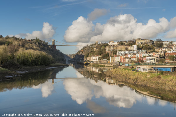 Clifton Suspension Bridge Reflected Canvas print by Carolyn Eaton
