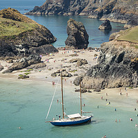 Buy canvas prints of Yacht at Kynance Cove, Cornwall by Carolyn Eaton