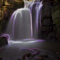 Buy canvas prints of  Lumsdale Waterfall by Alan Tunnicliffe
