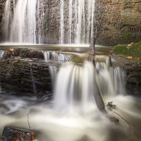 Buy canvas prints of Stepped Waterfall Autumn Colours by Christine Smart