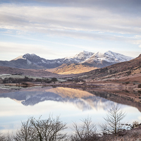 Buy canvas prints of  Snowdon Horseshoe Winter Reflections by Christine Smart