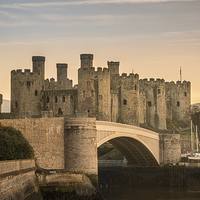 Buy canvas prints of  Conwy Castle Sunset Panorama by Christine Smart