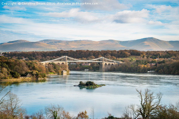 Blue Sky at Menai Bridge - Anglesey Canvas print by Christine Smart