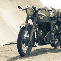 Buy canvas prints of  World war Two motor cycle by Ian Clamp