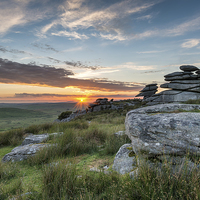 Buy canvas prints of Beautiful Sunset on Bodmin Moor by Helen Hotson