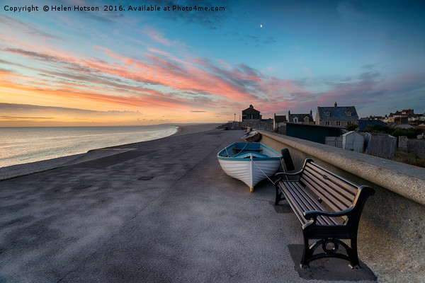 Stunning Sunset Over Chesil Cove Canvas print by Helen Hotson