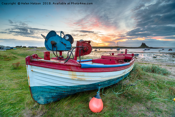 Fishing Boats at Lindisfarne Harbour Canvas print by Helen Hotson