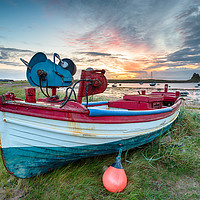 Buy canvas prints of Fishing Boats at Lindisfarne Harbour by Helen Hotson