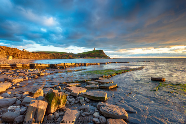 Dramatic sky over Kimmeridge Bay Canvas print by Helen Hotson