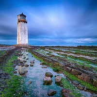 Buy canvas prints of Southerness Lighthouse at Dusk by Helen Hotson