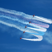 Buy canvas prints of Red Arrows Formation Turn by James Innes