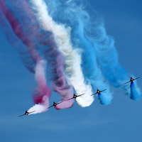Buy canvas prints of Red Arrows Face Off by James Innes
