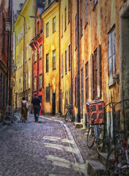 Stockholm Gamla Stan Painting Canvas print by Antony McAulay