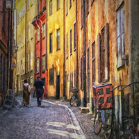 Buy canvas prints of Stockholm Gamla Stan Painting by Antony McAulay