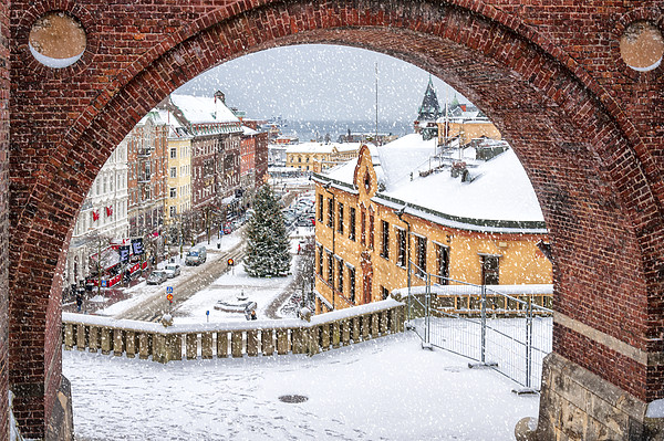 Helsingborg Winter Through the Archway Canvas print by Antony McAulay