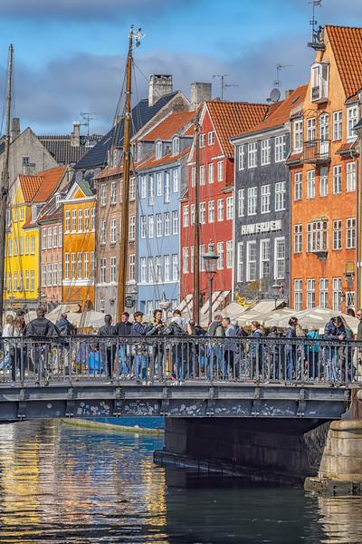 Copenhagen Nyhavn District Tourists Selfie Bridge Canvas print by Antony McAulay