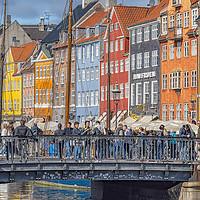 Buy canvas prints of Copenhagen Nyhavn District Tourists Selfie Bridge by Antony McAulay