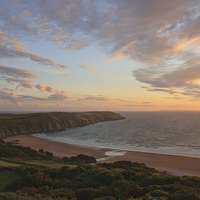 Buy canvas prints of Evening Sky Over Baggy Point by David Morton