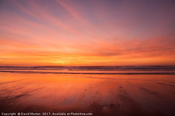 Sunset over Croyde Bay Canvas Print by David Morton