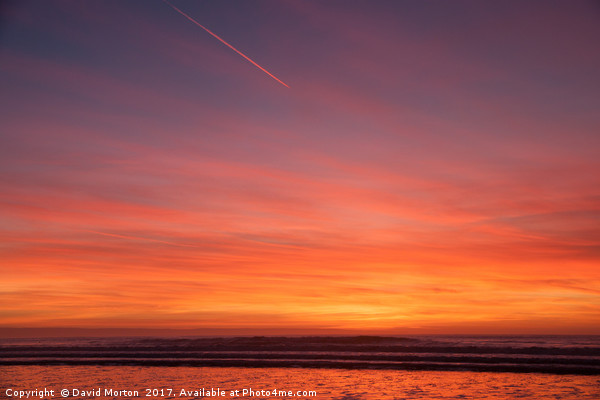 Sunset over Croyde Beach Canvas Print by David Morton
